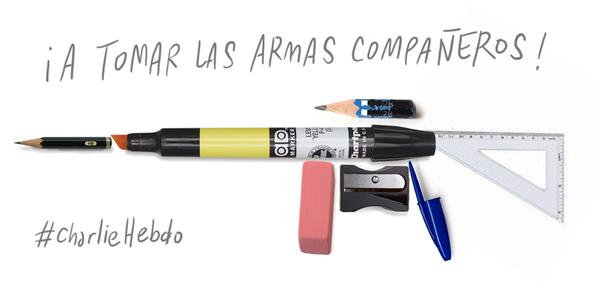 "Francisco J. Olea (@oleismos) tweeted a gun of different kind. ""Grab you weapons, comrades!"""